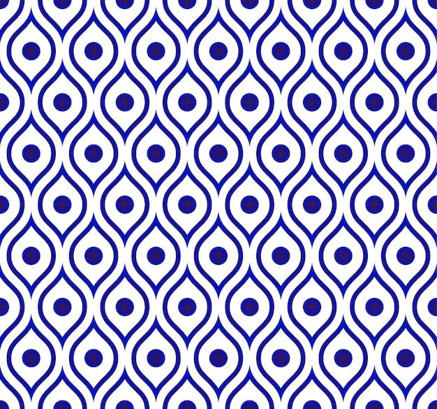 シームレスなタイのパターン、セラミック青と白の近代的な形の背景