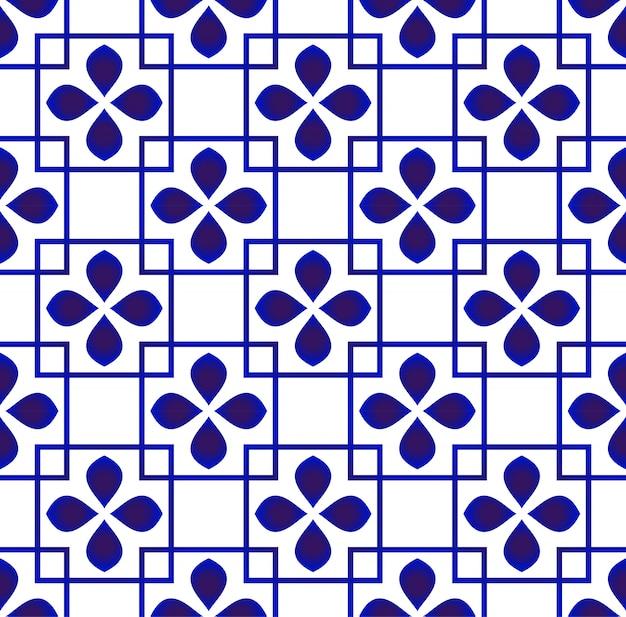 かわいい花の背景、青と白のセラミックパターンシームレスなデザイン