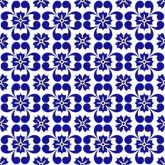 青い花のパターン、セラミックシームレスの磁器の背景、美しいタイルのデザイン、ベクトル