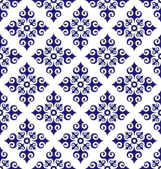 花の装飾の背景イスラム風、シームレスな青と白のセラミックパターン、磁器