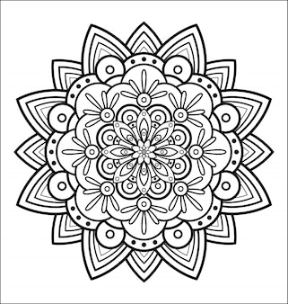 ぬいぐるみの本、抽象的な花のための曼荼羅装飾的な円形の装飾、抗ストレス療法