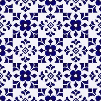 タイルパターン、セラミック青と白の花のシームレスな背景、美しい磁器の壁紙