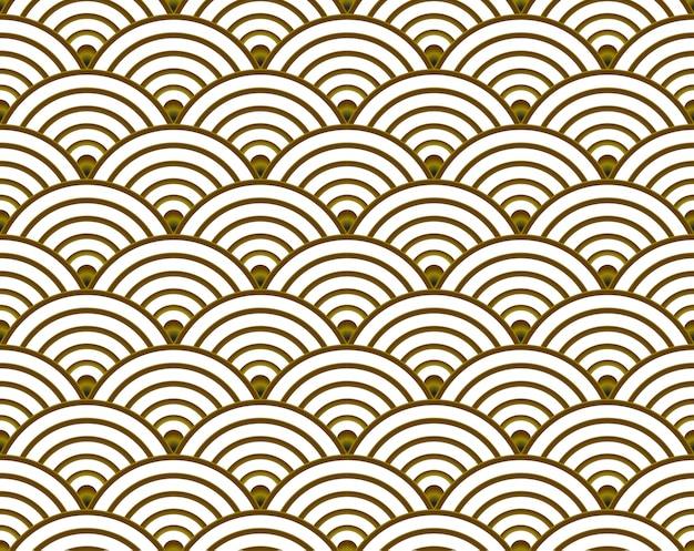 Золотая волна бесшовные шаблон для элемента, япония и китайский фон