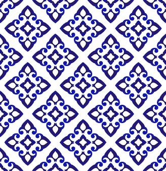 抽象的な花のシームレスなパターン青と白、磁器のインテリアの背景