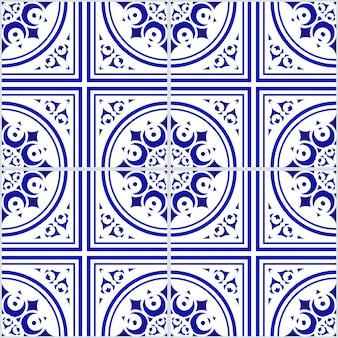 セラミック青と白の花のシームレスなパターン