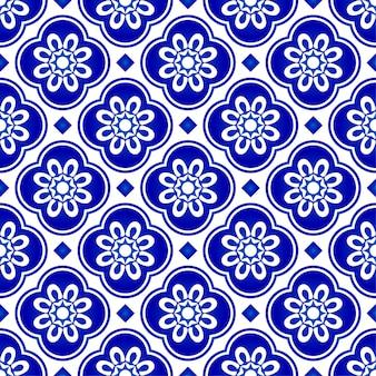 抽象的な花青パターン、青と白のタイルパターン、インディゴのシームレスな背景