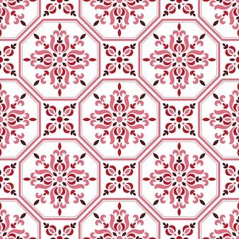 タイルパターン、カラフルな装飾的な花のシームレスな背景