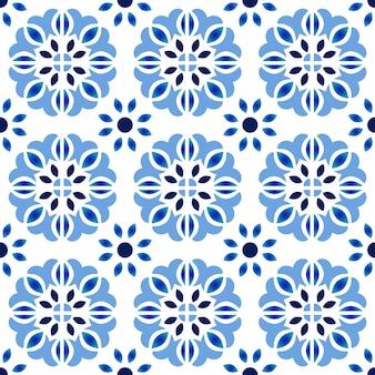 タイルパターン、カラフルな装飾的な花のシームレスな背景、美しいセラミック壁紙の装飾ベクトルイラスト