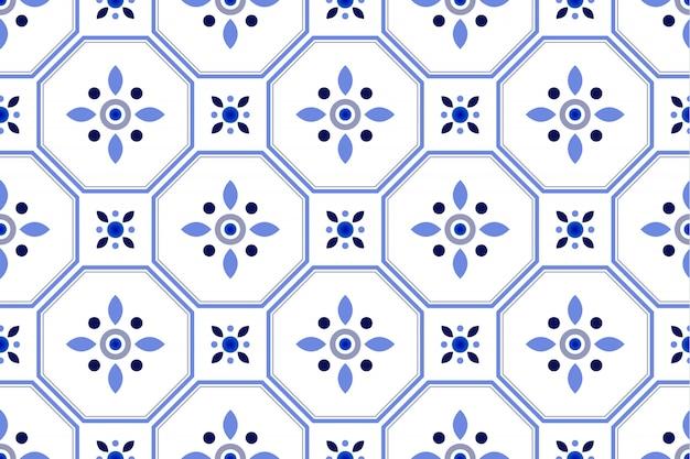 かわいいタイルパターン、カラフルな装飾的な花のシームレスな背景