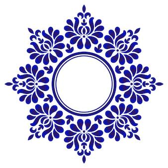 Круглый декоративный синий, декоративная рамка из декоративного круга, абстрактная рамка с цветочным орнаментом, фарфоровый узор