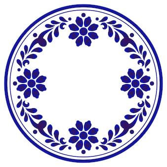ブルー観賞用の花柄ラウンド