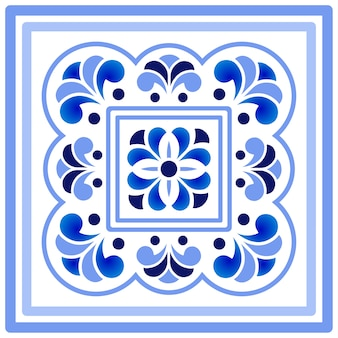 Синий и белый фарфоровый цветочный узор