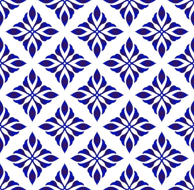 青い花のパターン