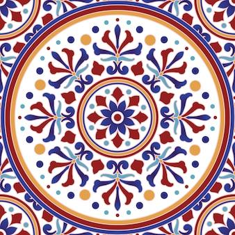 カラフルなパッチワークのトルコ風ビンテージタイルパターン