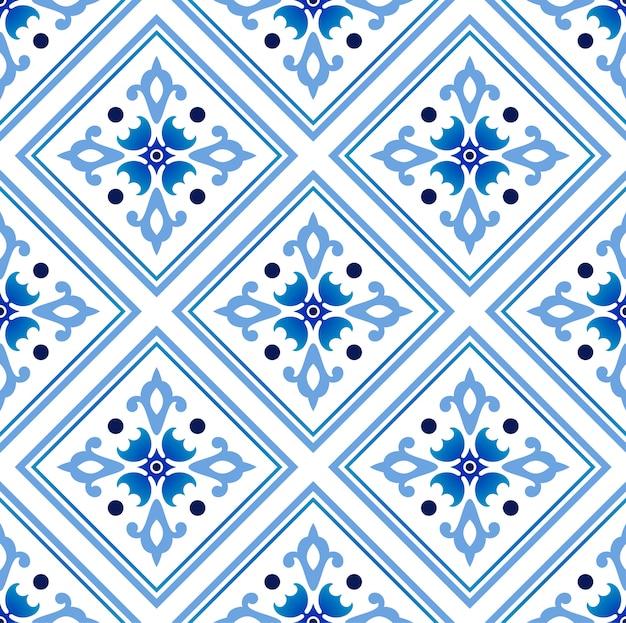 メキシコのタラベラセラミックタイルパターン、イタリアの陶器の装飾、ポルトガルのアズレージョシームレスパターン