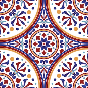 メキシコのタラベラセラミックタイルパターン、イタリアの陶器の装飾、ポルトガルのアズレージョのシームレスパターン、カラフルなスペインのマジョリカ飾り、美しいインドとアラビア