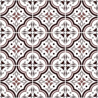 メキシコのタラベラセラミックタイルパターン、イタリアの陶器の装飾、ポルトガルのアズレージョのシームレスパターン、カラフルなスペインのマジョリカ飾り、グレーとブラウンのアンティーク壁紙
