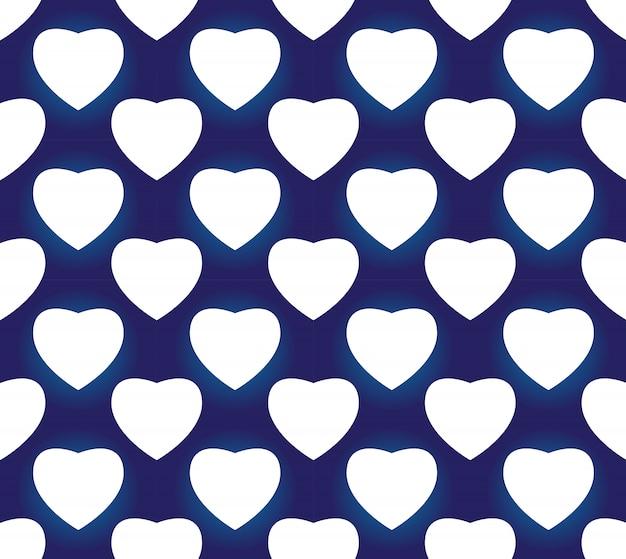 シームレスな磁器インディゴブルーとホワイトのシンプルなアートの装飾ベクトル、チャイニーズブルーのハート形、セラミックパターン