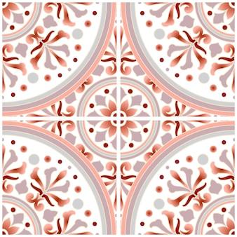 カラフルなパッチワークパステルスタイル、デザイン、美しい額とグレーのマンダラ、セラミック壁紙のシームレスな装飾のための抽象的な花の装飾的なバティックタイルパターン