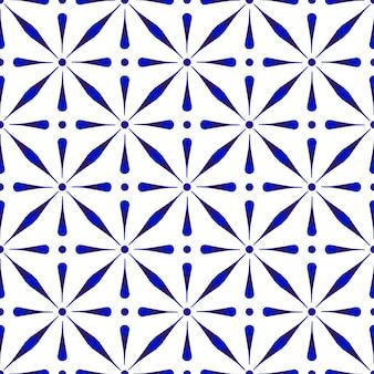 抽象的なモダンなパターンの青と白、磁器のシームレス花柄セラミック