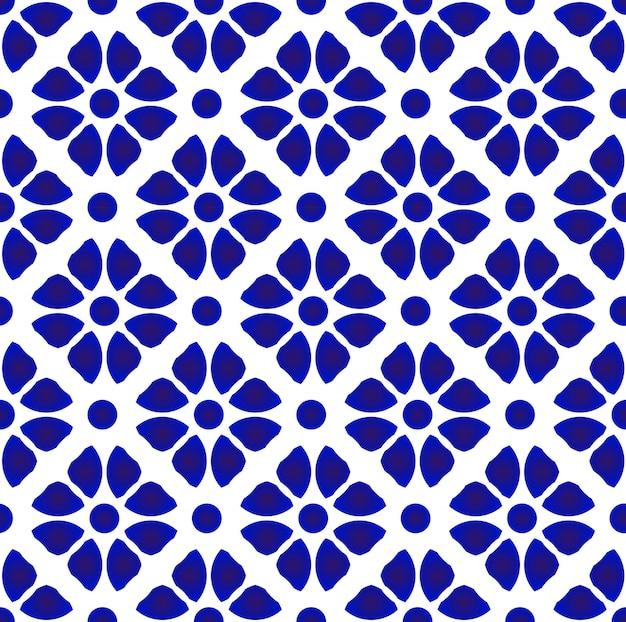 抽象的な花柄の青と白