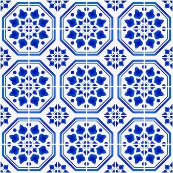 セラミックタイルパターン青と白のアンティーク壁紙、イラスト