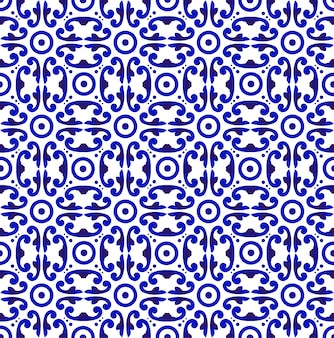 青と白の日本と中国のシームレスパターン