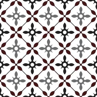 かわいいタイルパターン、カラフルなシームレスなモダンな背景、茶色と灰色のセラミック壁紙の装飾、ポルトガルの飾り、モロッコのモザイク、陶器のフォークプリント、スペイン食器、ビンテージタイル、