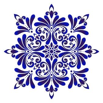 装飾的な花の青いタイルのデザイン