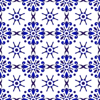 抽象的なブルー花柄