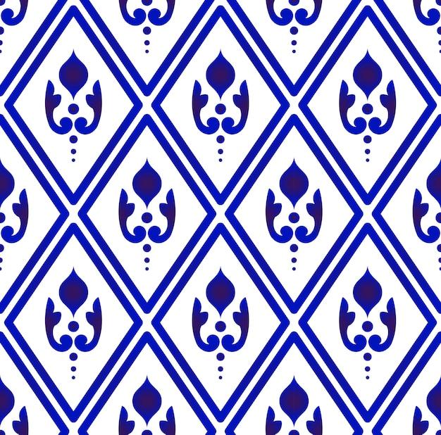 Синие и белые цветочные обои