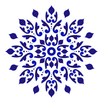 Абстрактный цветок мандалы, синий и белый цветочный орнамент для дизайна