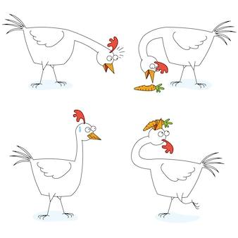 チキンはニンジンを食べる