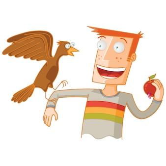 Мужчина кормит птицу яблоком