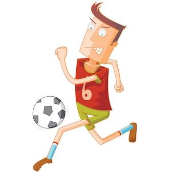 ボールをドリブルしながら走るフットボール選手