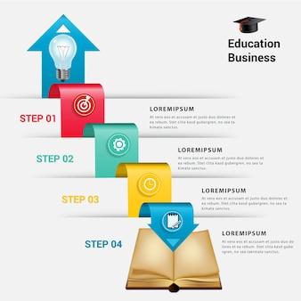 ビジネスインフォグラフィックのブックステップ。
