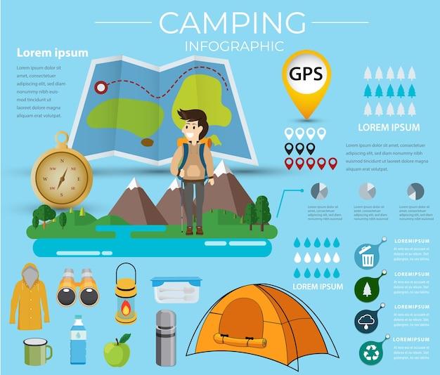 キャンプインフォグラフィック。データ情報ベクトル図。