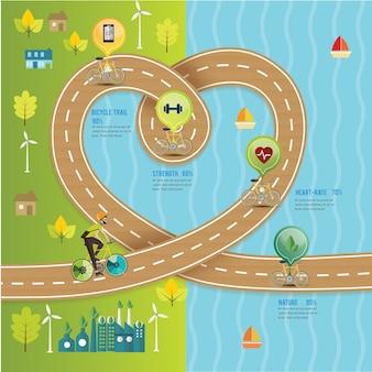 自転車道の心のタイムライン方法、自然の道。ベクトル図。