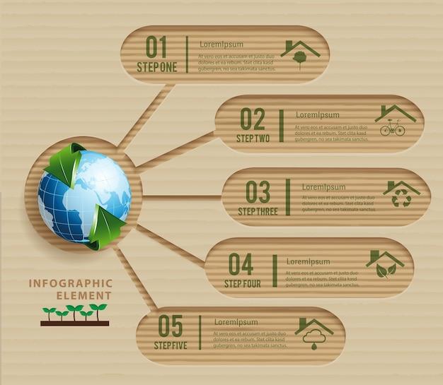 ペーパークラフトエコロジーコンセプトグリーンデザイン環境と自然。
