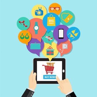 オンラインショッピングの電子商取引の概念。