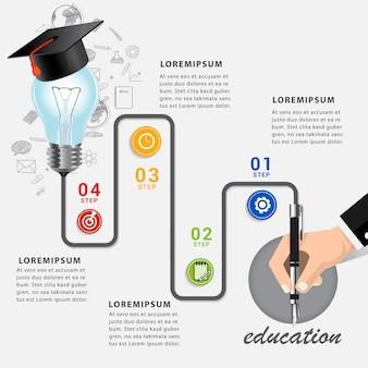 教育ビジネス学習インフォグラフィックテンプレート