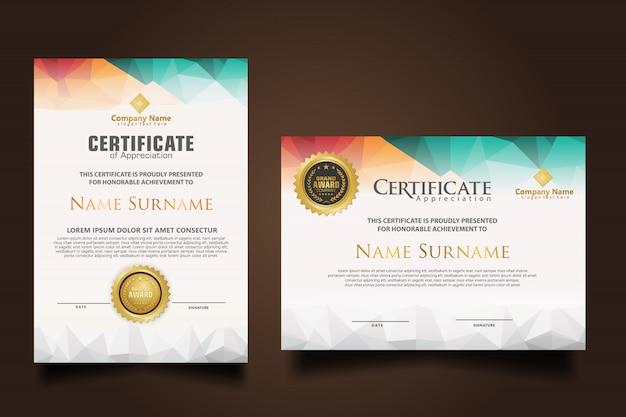Установите шаблон сертификата с динамичным и футуристическим многоугольным цветом и современными формами