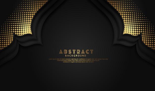 モスクのドア効果とゴールドハーフトーン飾りイスラム背景