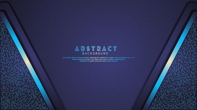 未来的でダイナミックなダークブルーがレイヤーの背景に重なり、きらめき効果があります。テクスチャの暗い背景に現実的な斜め形状パターン