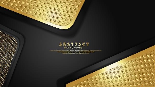 豪華でエレガントなゴールドと黒の重なりレイヤーの背景にキラキラ効果