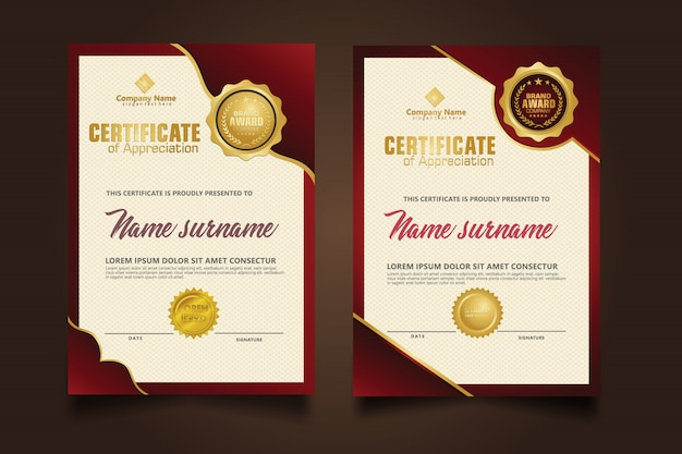 Установите вертикальный шаблон сертификата с роскошным и элегантным темно-красным орнаментом на фоне текстуры современной модели.