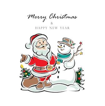 クリスマスサンタクロースと新年あけましておめでとうございますベクトルイラスト