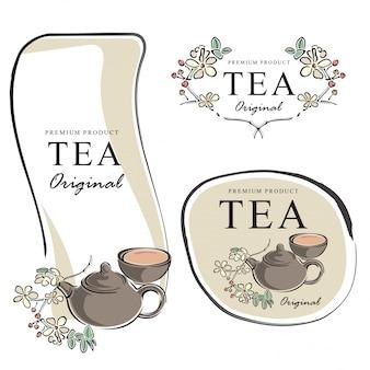 Рисованной чай баннер элементы векторная иллюстрация