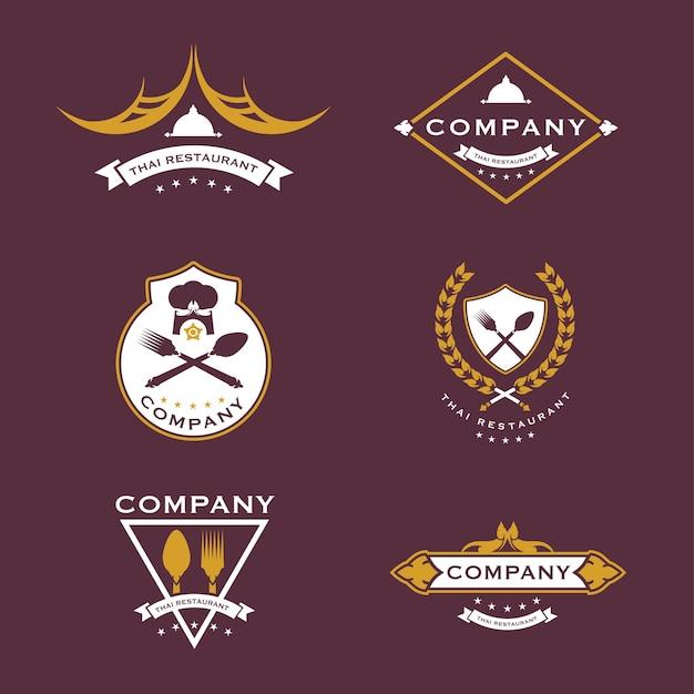 黄金色のタイ料理ロゴのセット
