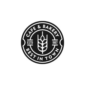 パン屋さんのロゴビンテージエンブレムプレミアム品質ベクトル分離設計図